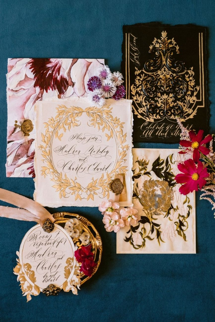 Italian style, refined and elegant, pink and gold botanical wedding invitations suite for a fine art, high-end wedding in Italy.