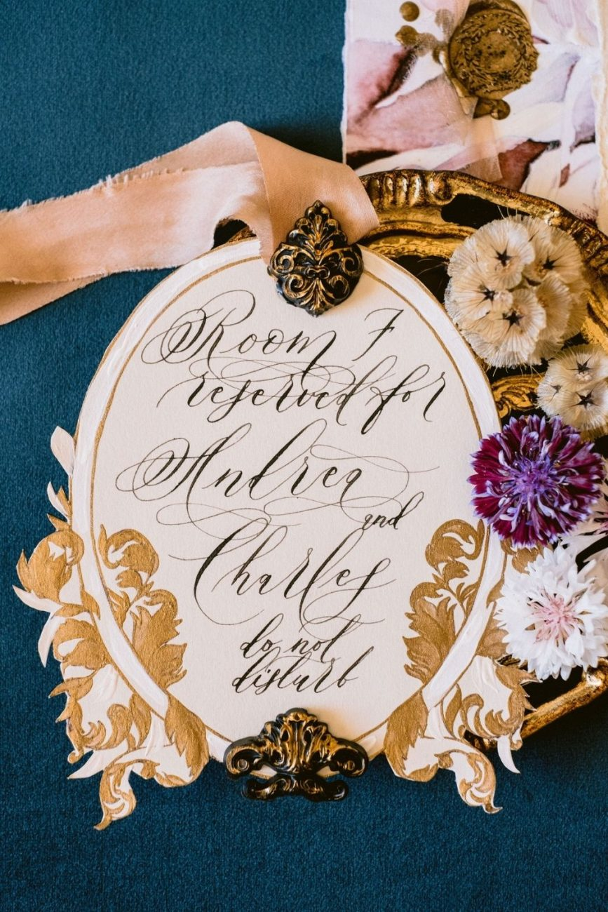 Italian style wedding stationery featuring a beautiful, hand made door handle design. Perfect for a stylish room label.