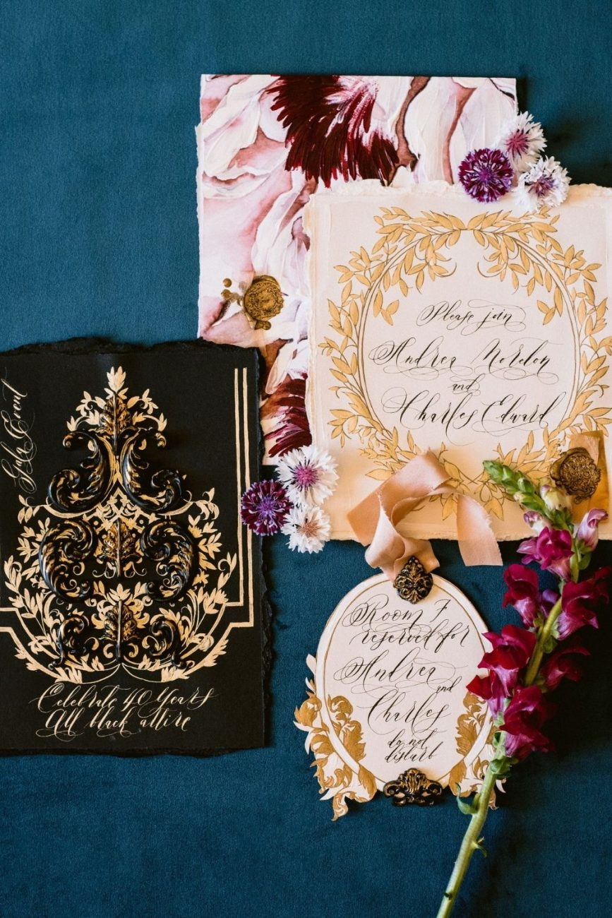 Lake Como wedding invitations with a romantic, old world European style for a fine art wedding in Italy