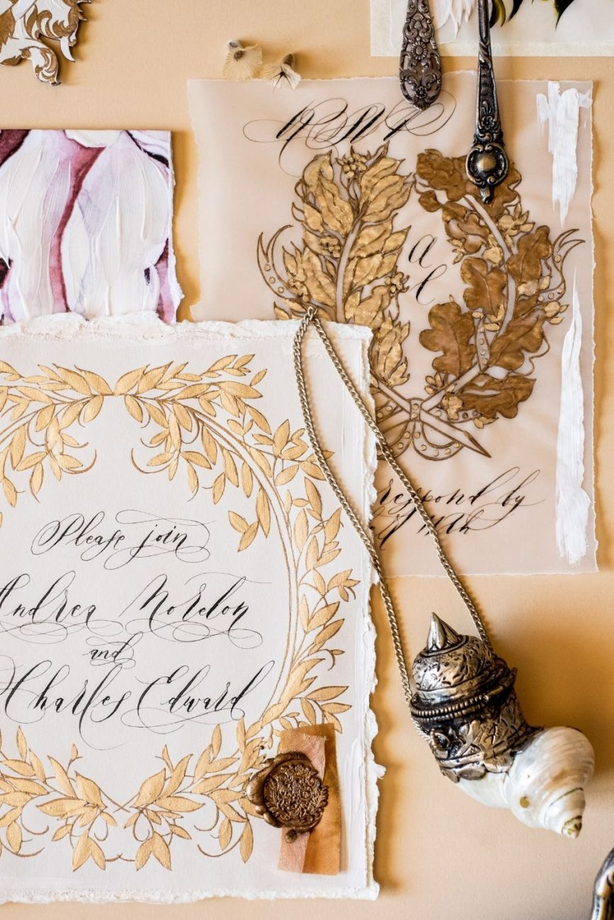 Luxury & elegant wedding stationery with gold and blush floral design with hand calligraphy and vellum for a wedding at Lake Como