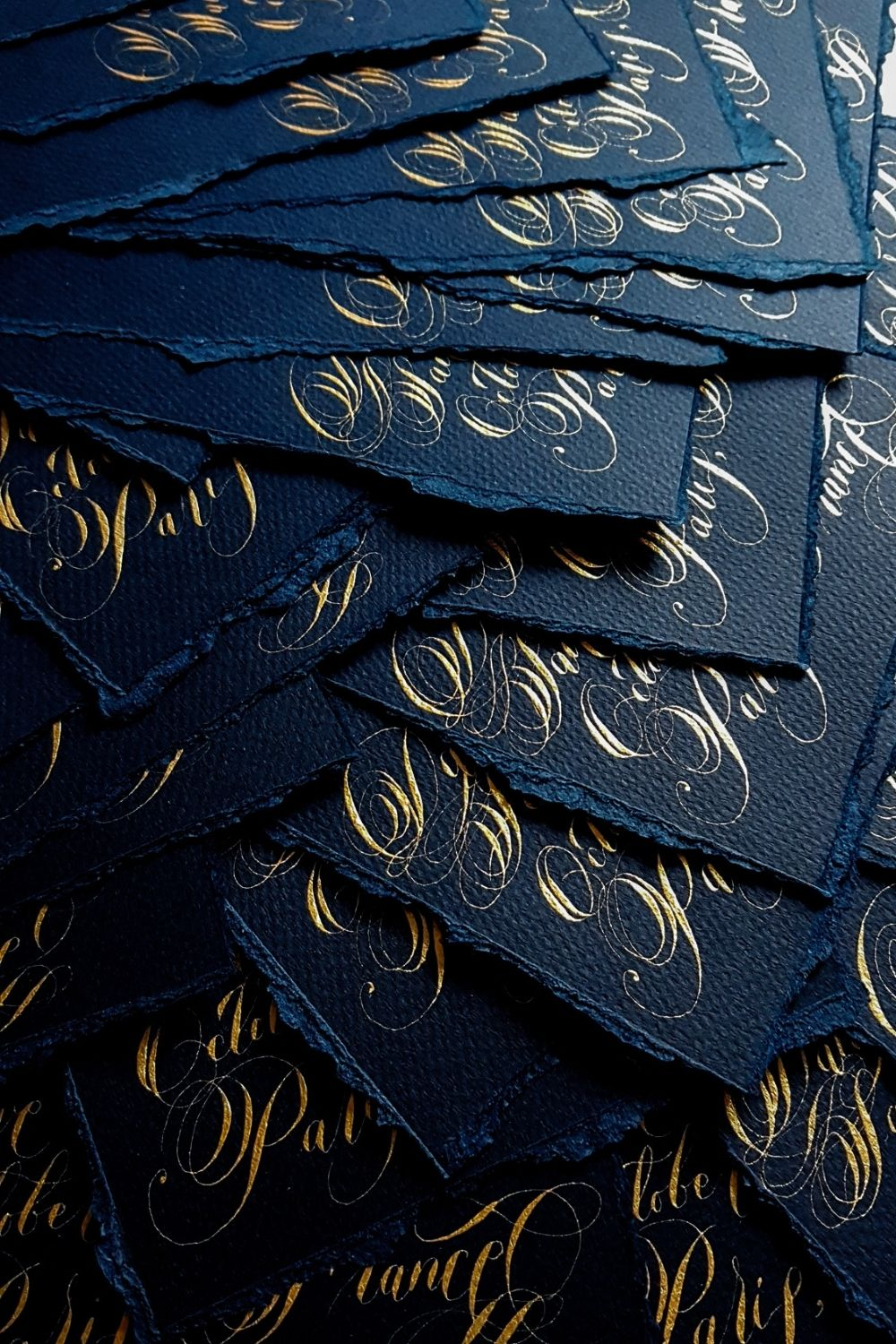 Navy blue and pale gold hand calligraphy, French style wedding invitations