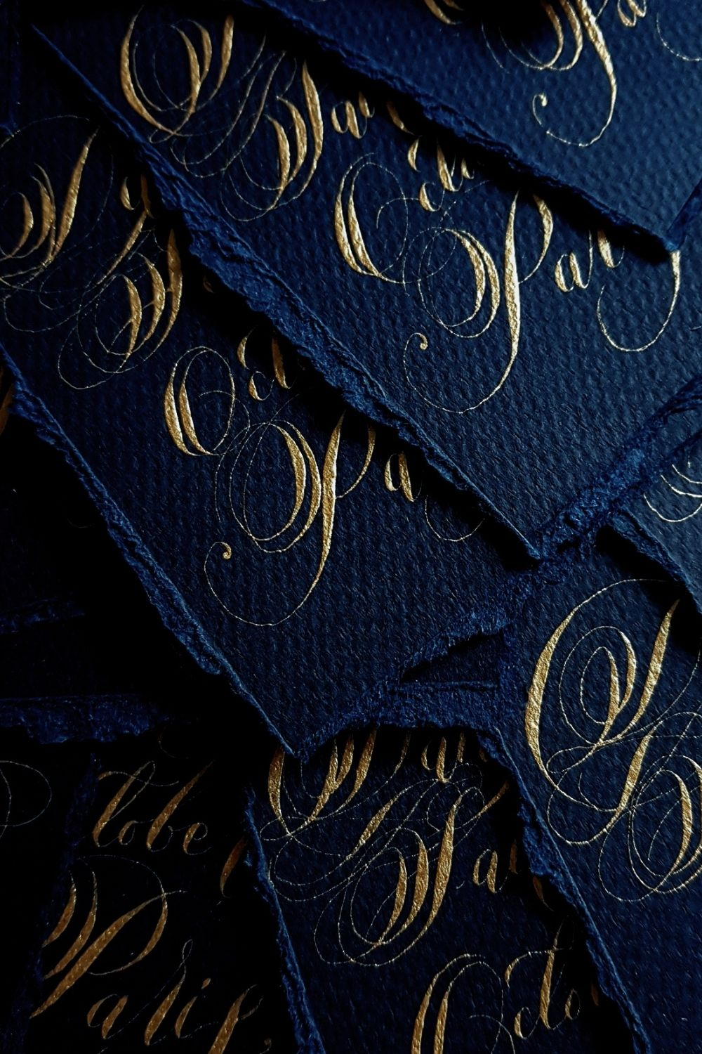 Navy blue and pale gold wedding, French style save the dates