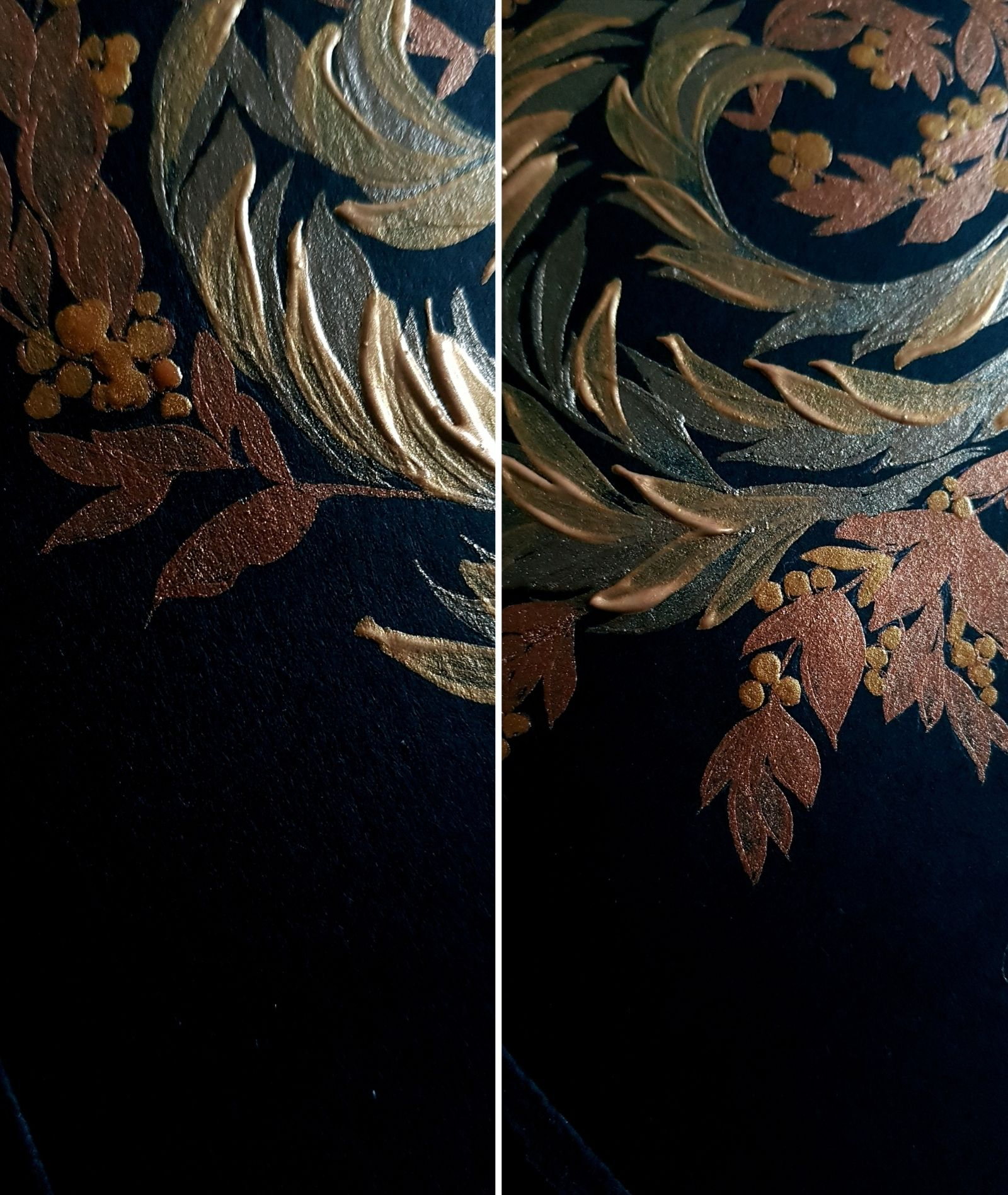 Black, gold and copper hand painted wedding invitations for a luxury renaissance wedding at Villa Balbiano, Lake Como, Italy