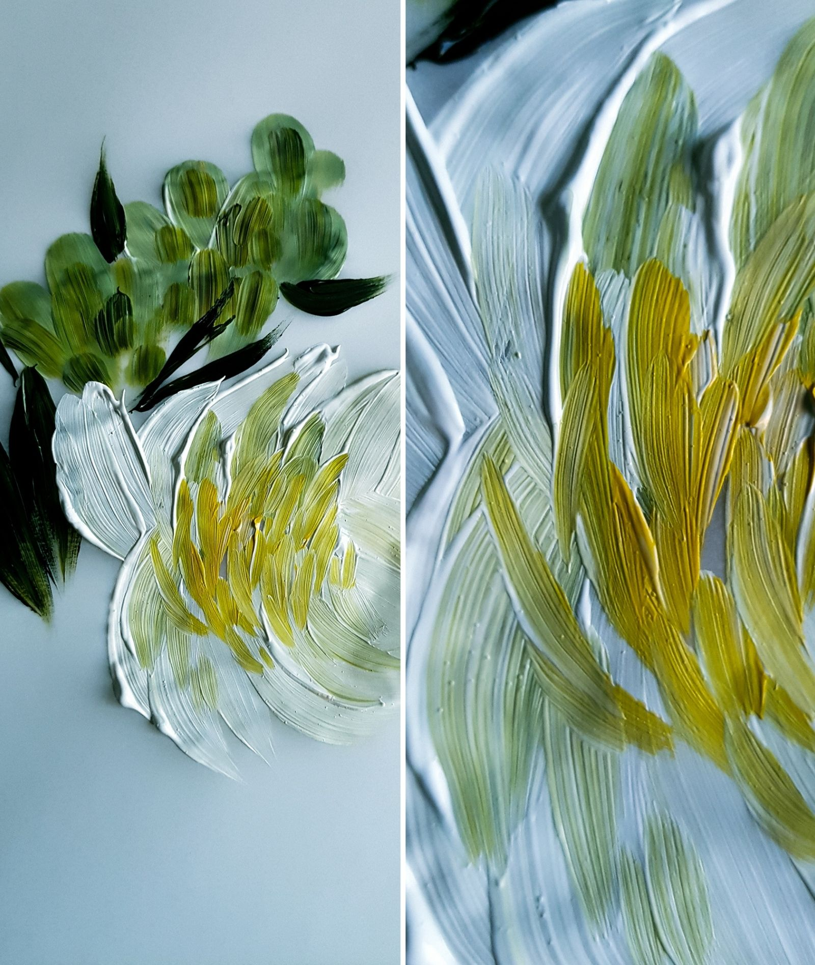 White and yellow floral painting with acrylics for some beautiful, fine art, hand painted wedding invitations