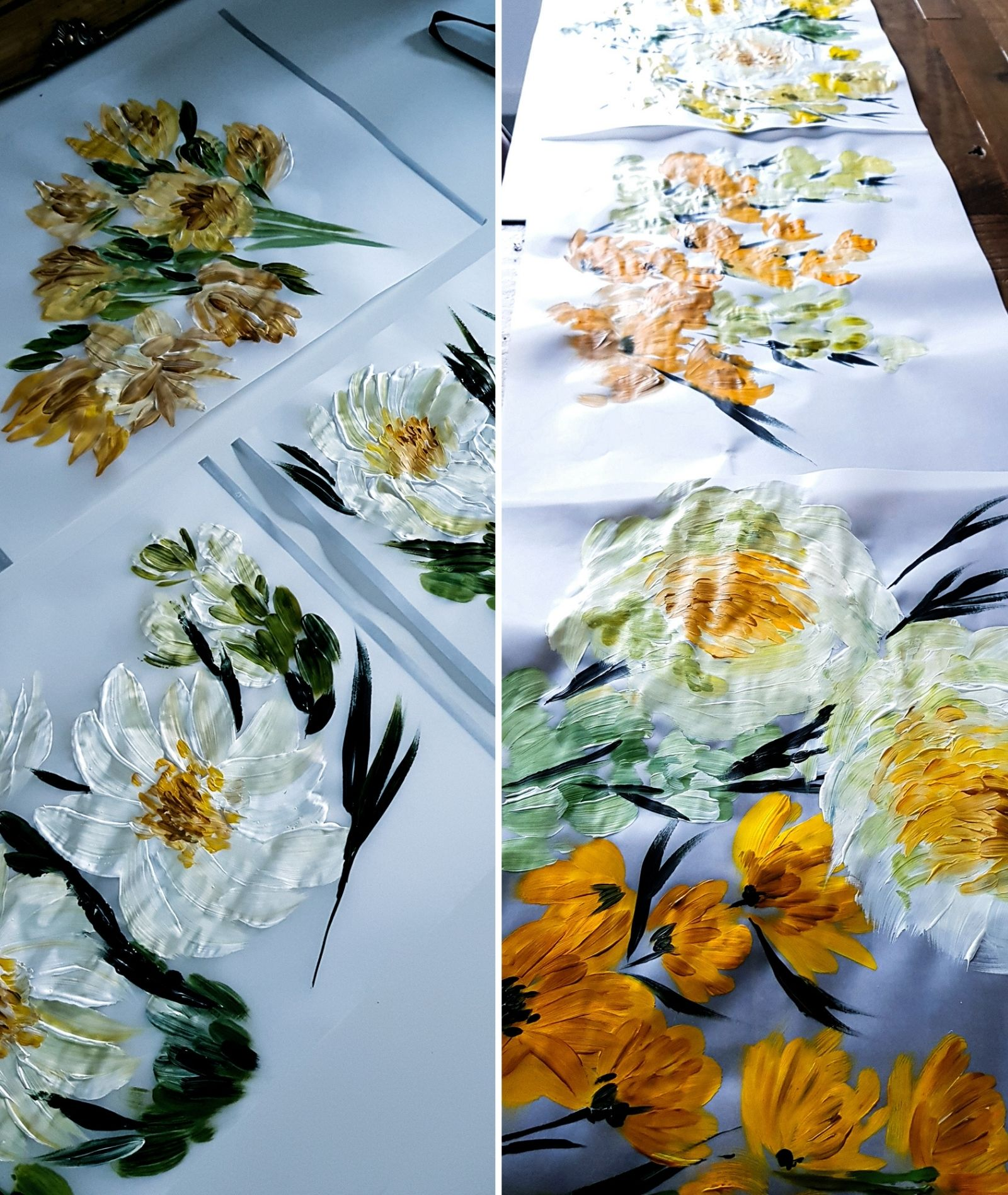 White and yellow floral painting with acrylics for some elegant placemat ideas
