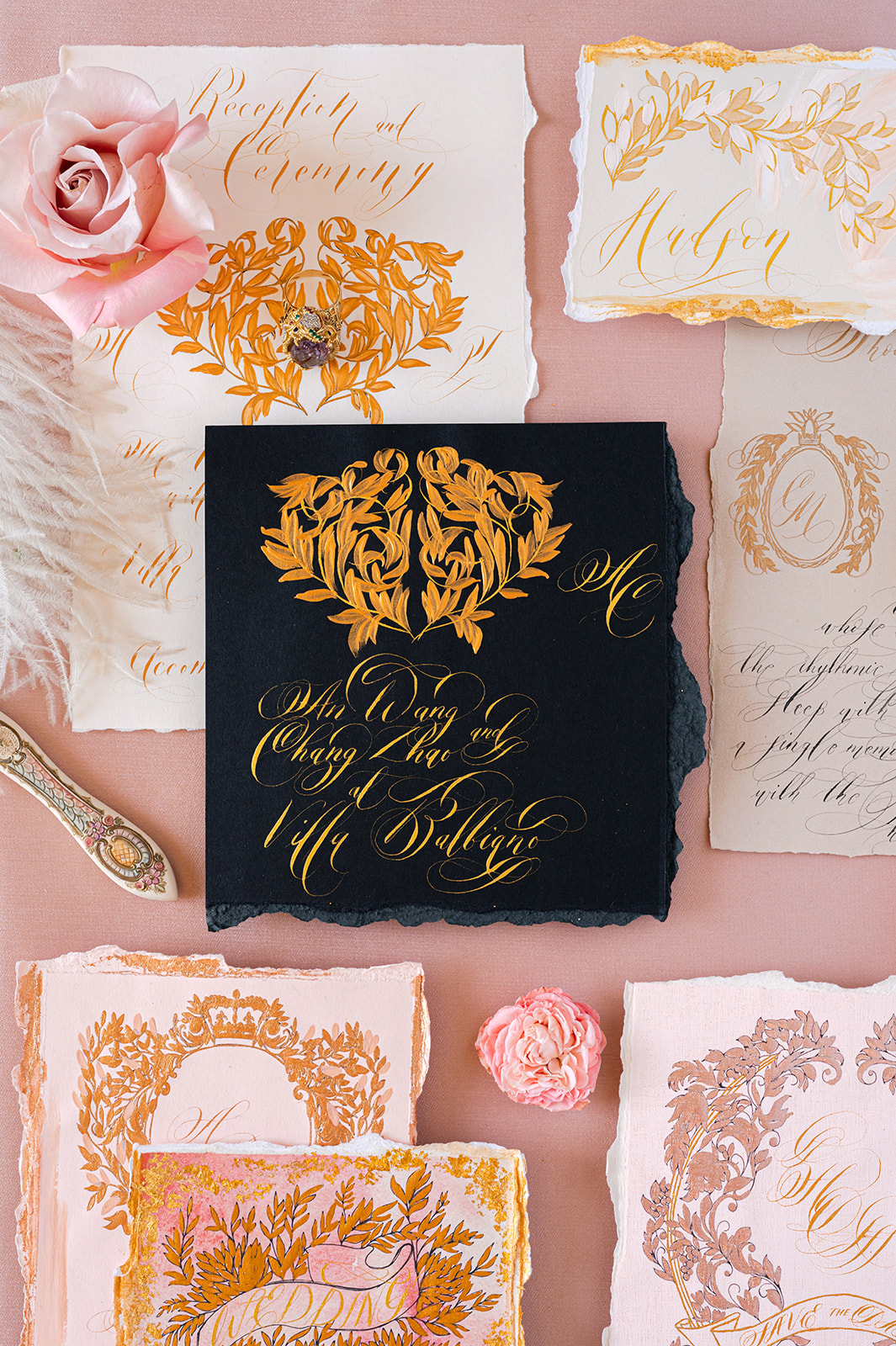 Villa Balbiano wedding stationery for high-end fashion bride with a Vogue inspired wedding on Lake Como