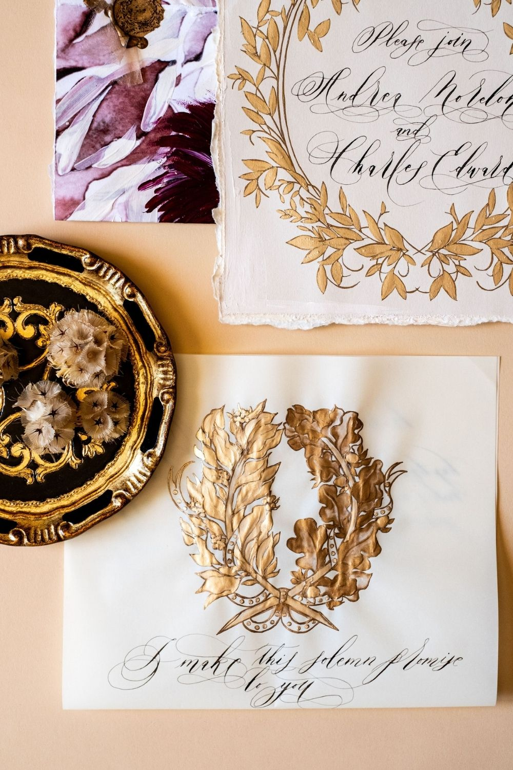 Beautiful, Italian style vintage crest design with gold hand painted details for a luxury wedding at Villa Balbiano