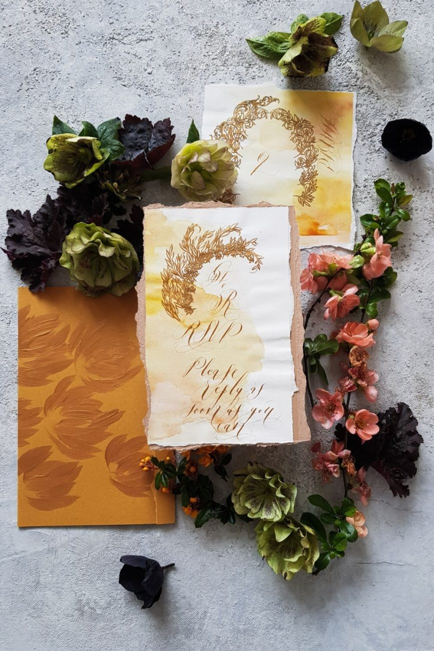 Classical and chic, hand made deep mustard, gold, and yellow watercolour wedding stationery for a luxury wedding at Hotel Alfonso XIII, Seville, Spain.