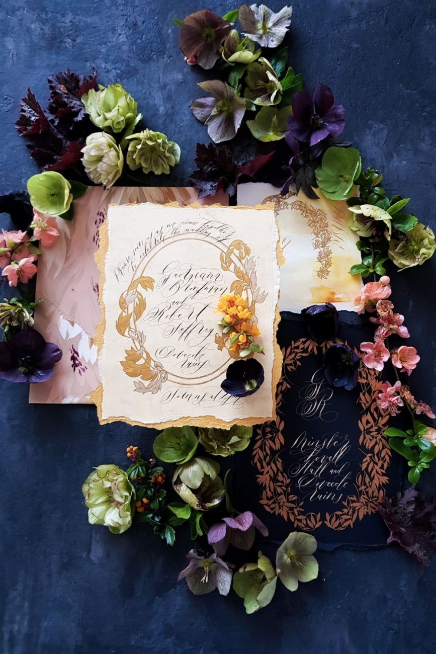 Dark and moody, black tie wedding stationery with hints of pale yellow for a Spanish wedding in Seville