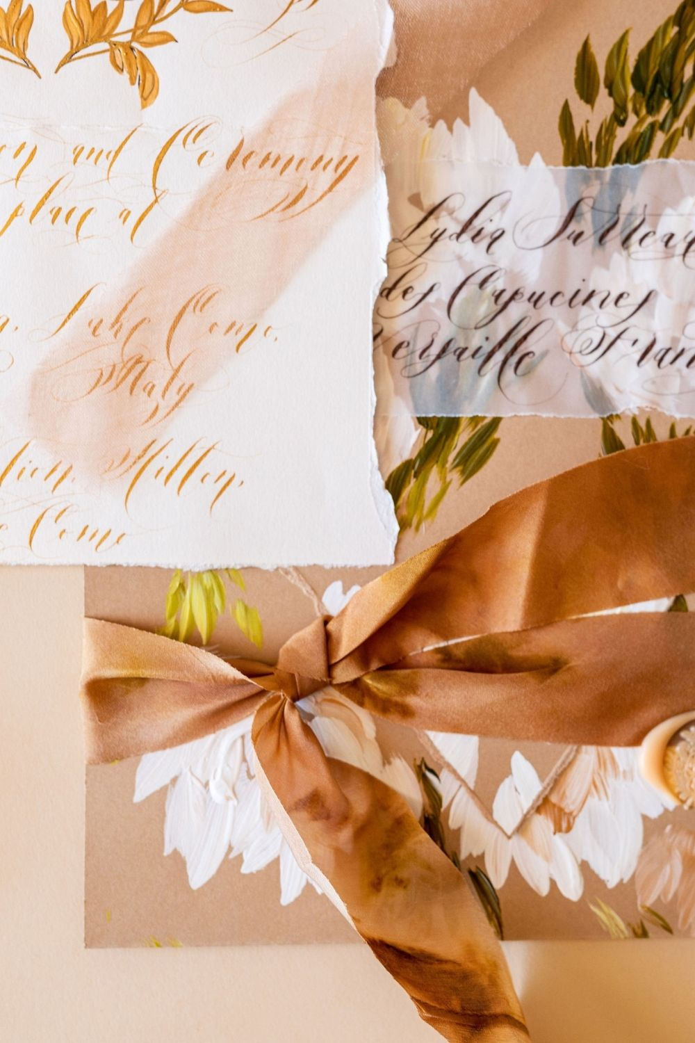 Elegant and romantic, pale caramel, coffee and cream floral wedding stationery