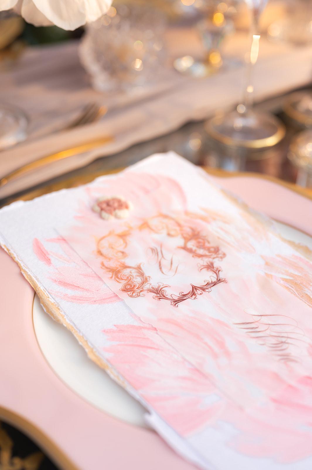 Floral inspired hand painted blush wedding menu design