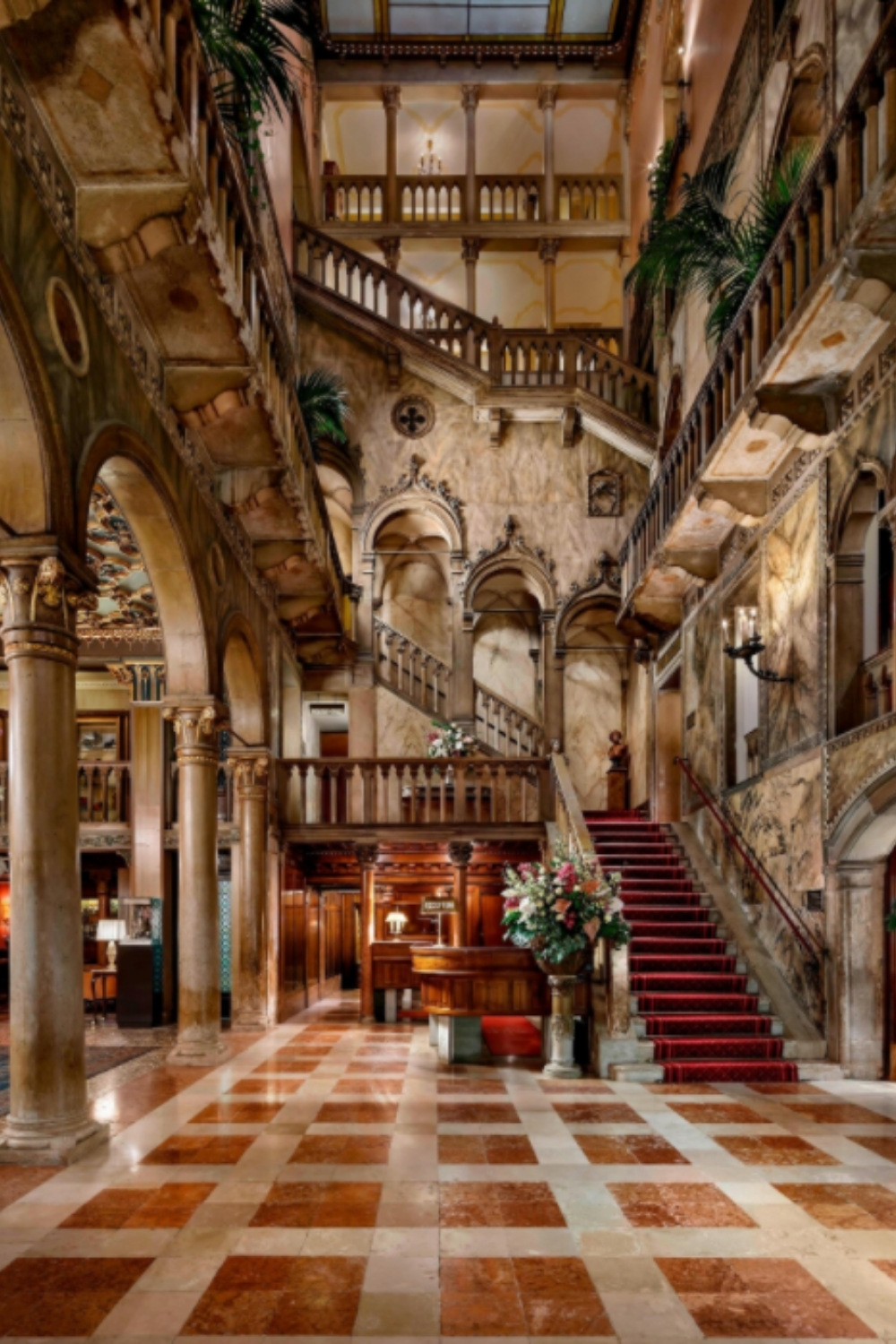 Hotel Danieli's luxurious and richly decorated lobby area makes quite a statement for a destination wedding venue