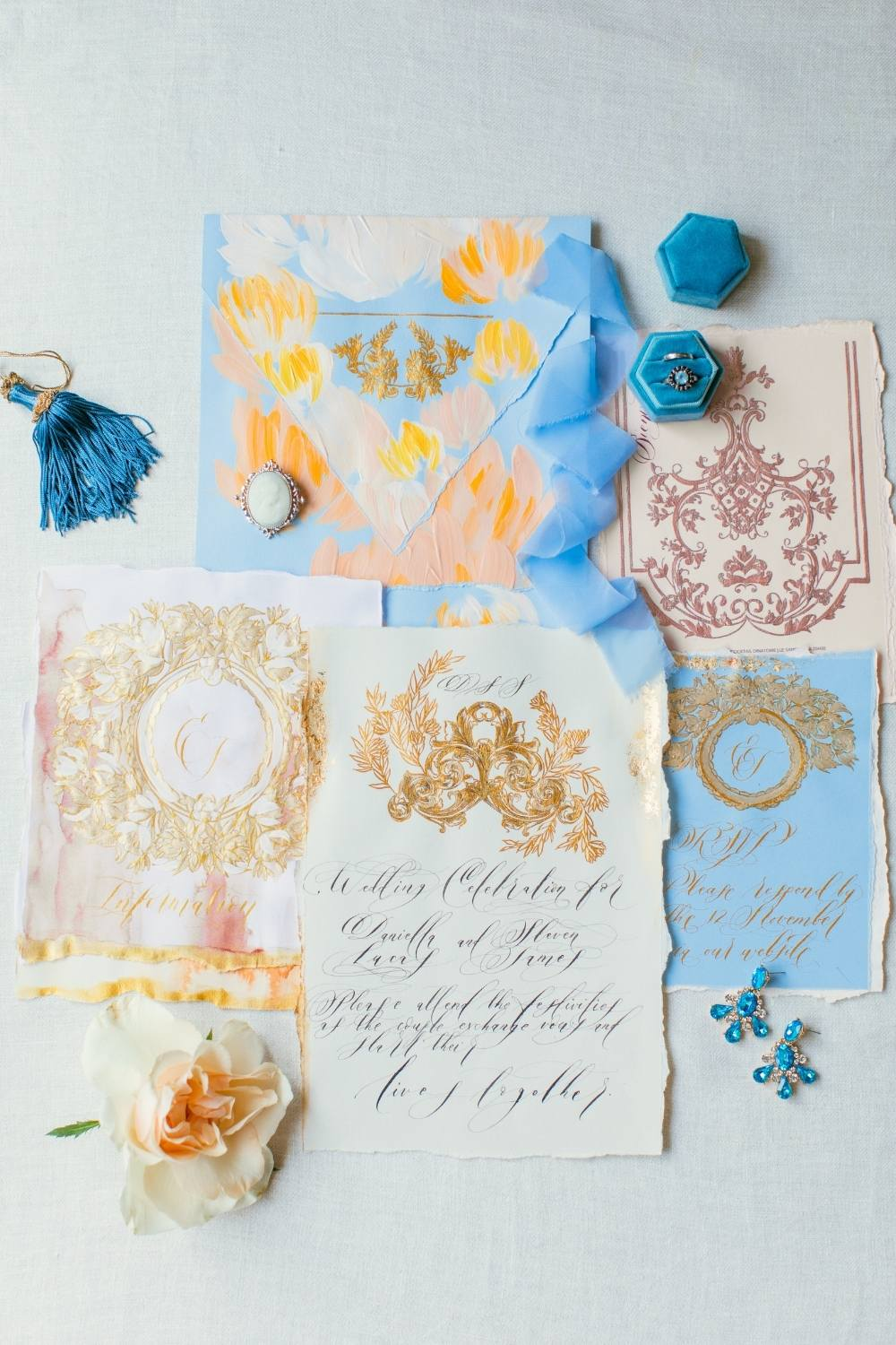 Lake Como wedding stationery, inspired by blue, gold and blush hues