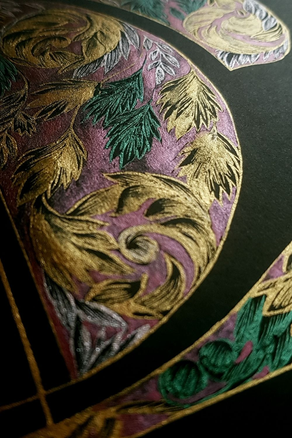 Luxury hand drawn logo design, inspired by a romantic baroque style design with deep magenta and gold tones