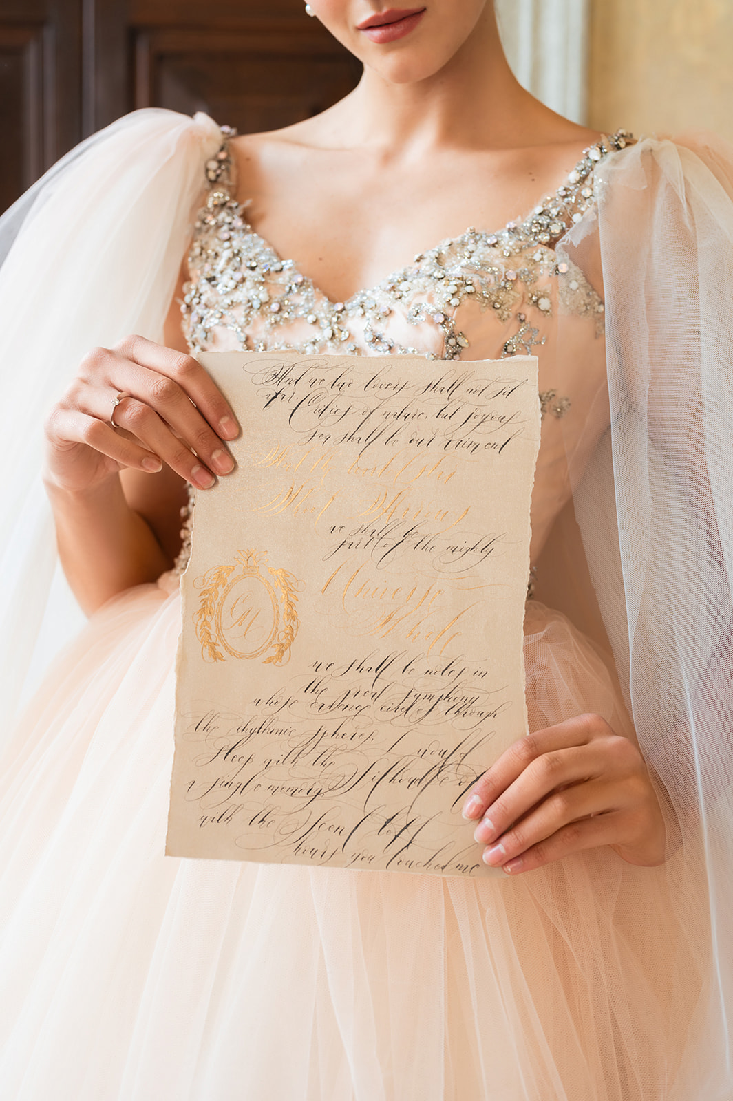 Luxury hand made, custom designed wedding vows for a luxury wedding at Villa Balbiano