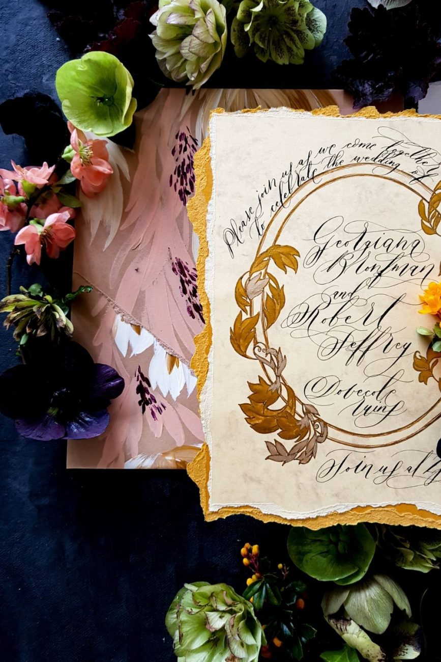 Rich yellow, copper, gold paired with blush for luxury wedding stationery suite for a wedding in Seville, Spain