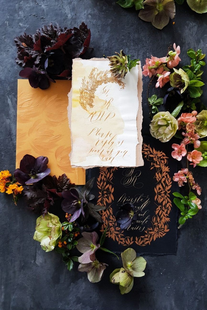 Spanish style pale yellow, deep cream, rich gold-mustard and black and copper wedding invitation suite for a luxury wedding at Hotel Alfonso XIII in Seville, Spain