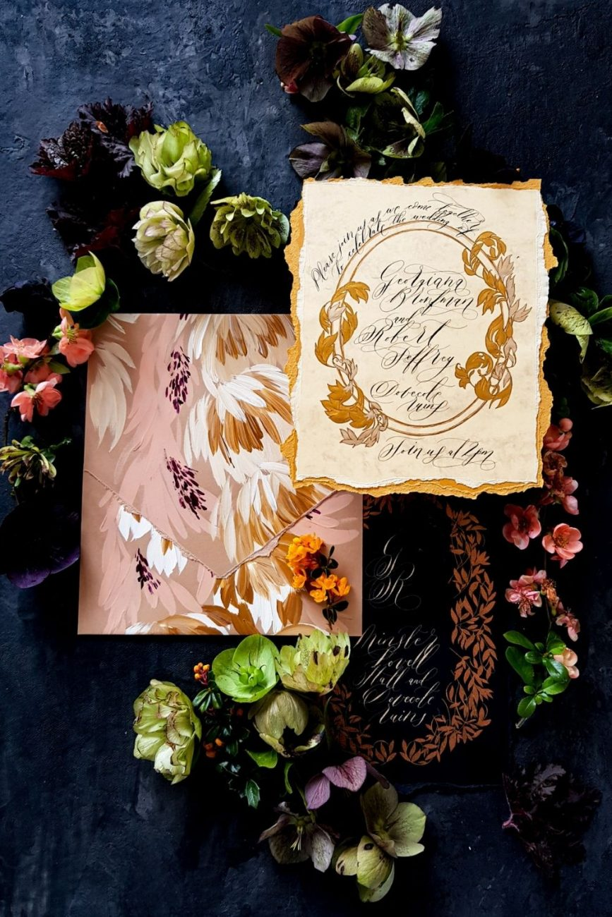 Striking and luxurious, hand painted luxury wedding invitations for a Spanish wedding at the Hotel Alfonso XIII, Seville, Spain