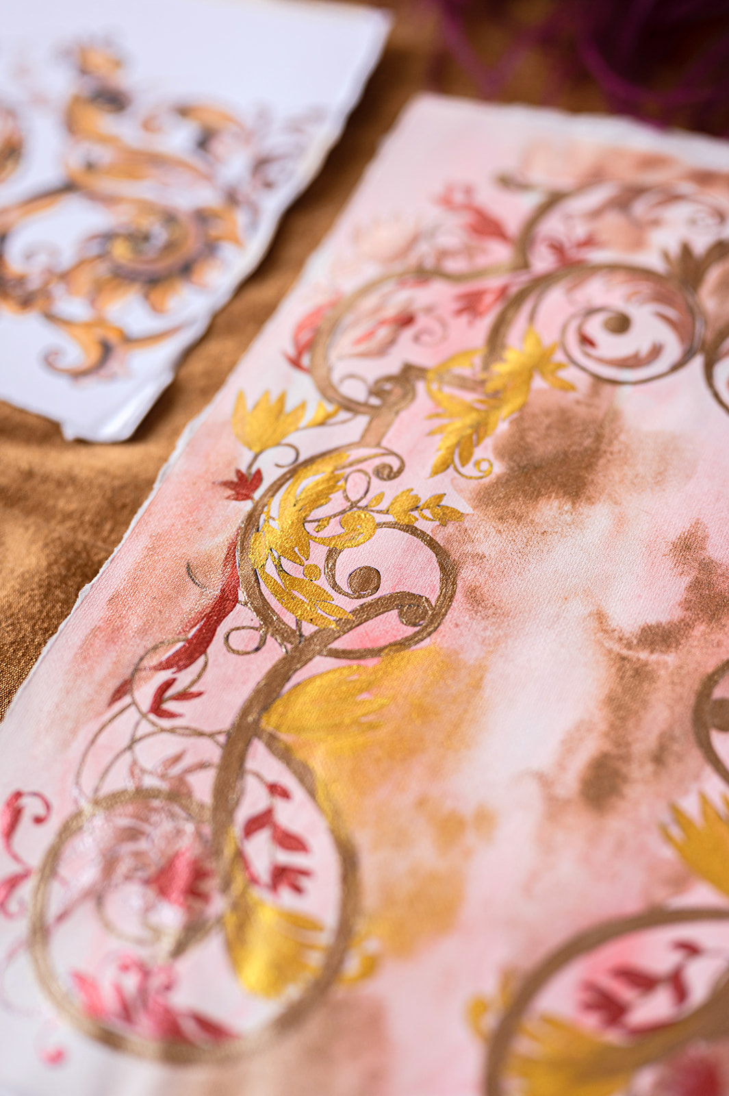 Villa Balbiano luxury wedding stationery, cutsom designed and hand painted with deep blush, gold and magenta