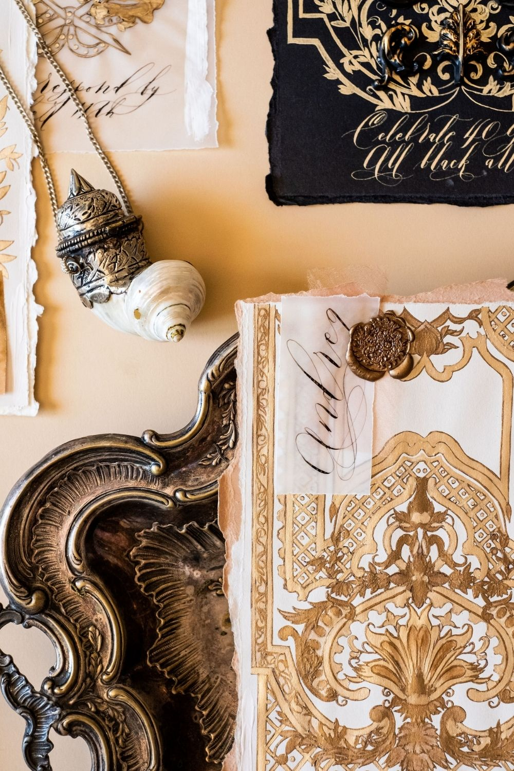 Villa Balbiano wedding invitations with beautiful hand painted details for a luxury wedding at Lake Como, Italy