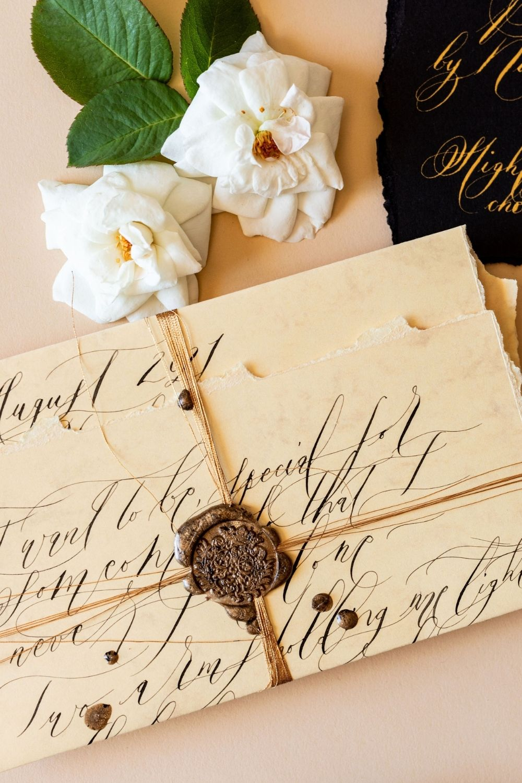 Villa Balbiano wedding invitations with wild and loose, bohemian calligraphy for an Italian wedding