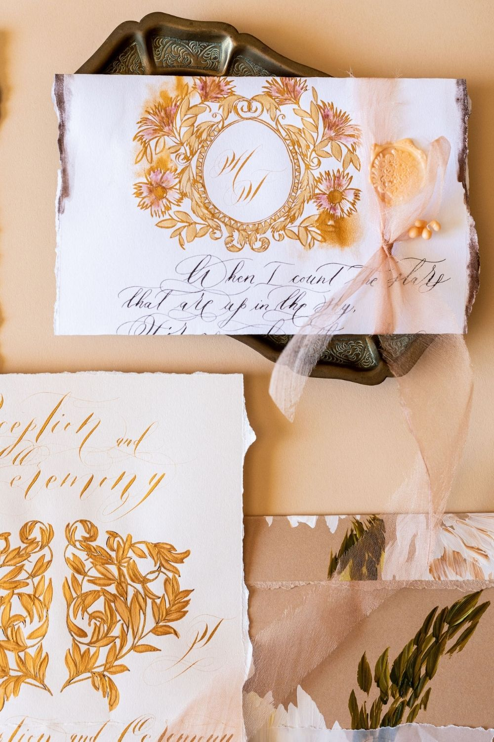 White and gold hand painted wedding invitations inspired by Italy for a luxury destination wedding