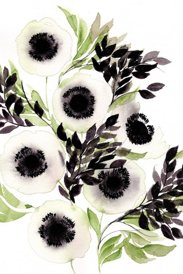 Abstract & Loose Floral Watercolour – White Anemones