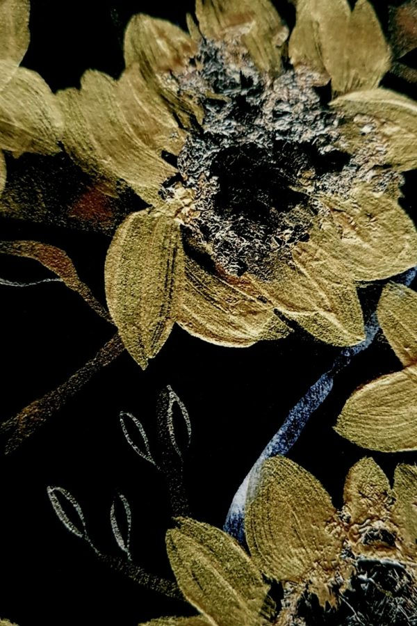 Black and gold botanical print with gold acrylic hand painted flowers close up view
