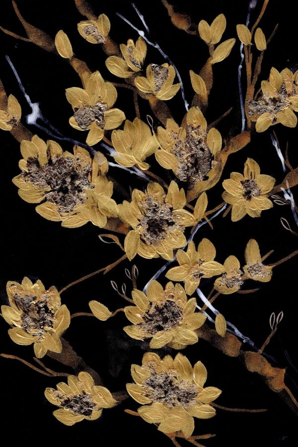 Black and gold botanical print with gold flowers on a black background acrylic painting illustration