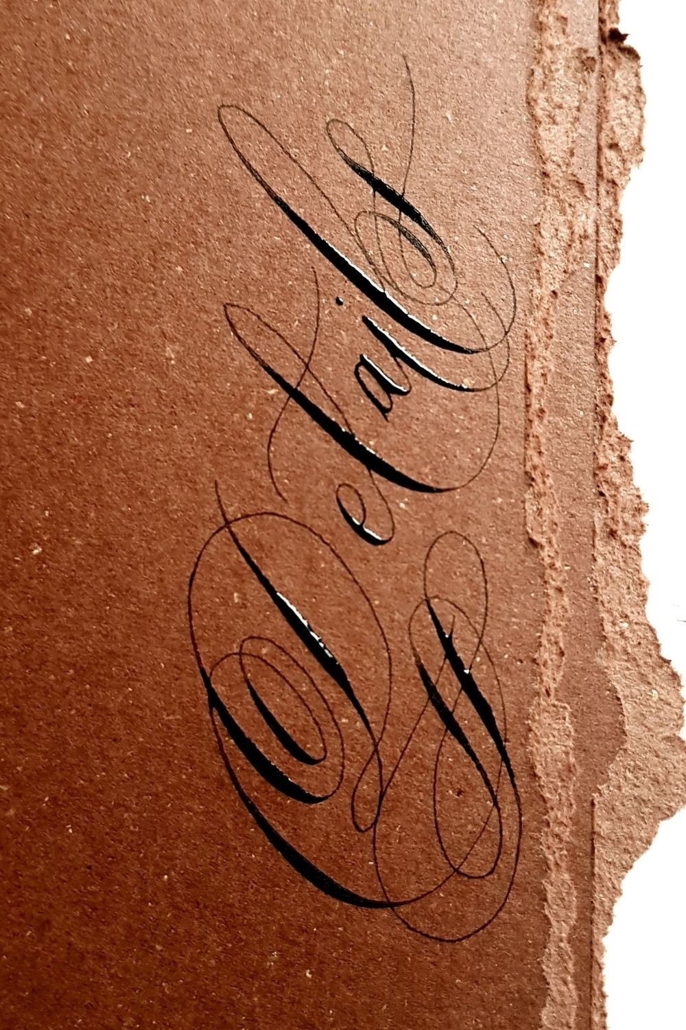 Deep brown card black calligraphy for some fine art wedding stationery for a wedding on Lake Como