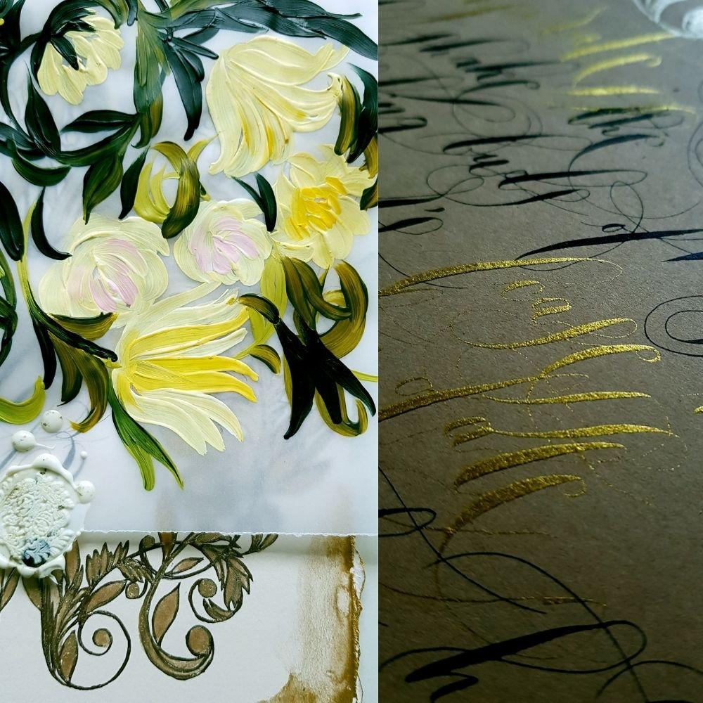 Elegant floral wedding stationery, custom designed for a wedding in Villa Erba