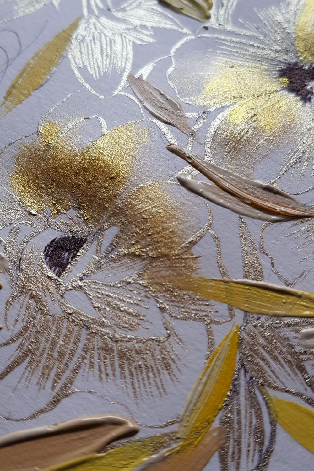 Hand painted floral painting with gold foil flowers and hand painted brown leaves