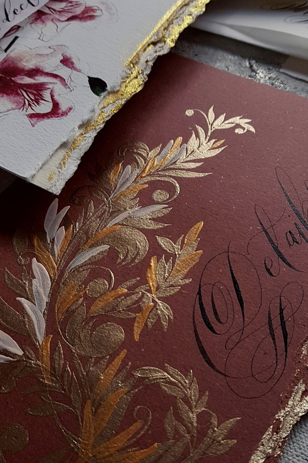 Luxury wedding invitations with brown and gold hand painted filigree details for a wedding on Lake Como, Villa Erba