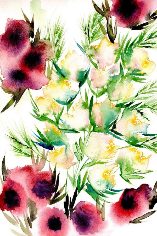 Watercolour abstract flower painting with red and yellow flowers and green leaves
