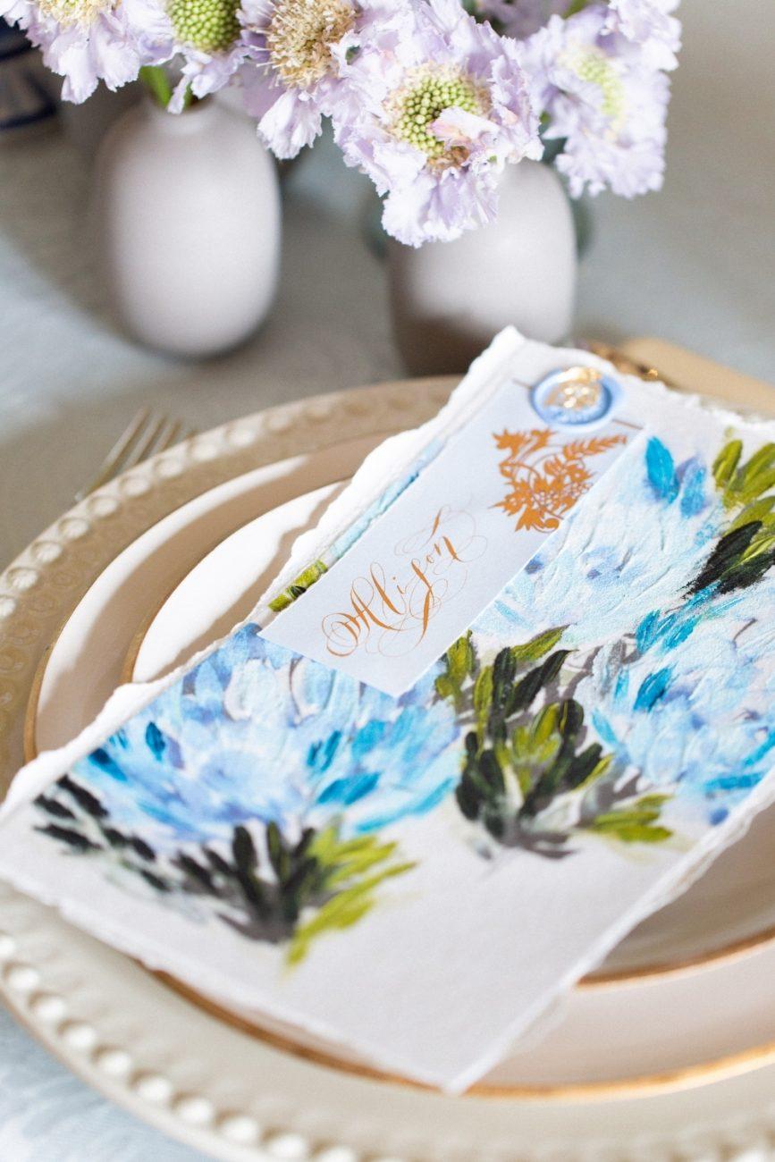Blue & Gold fine art hand painted hydrangea menu design for an elegant destination wedding in Italy
