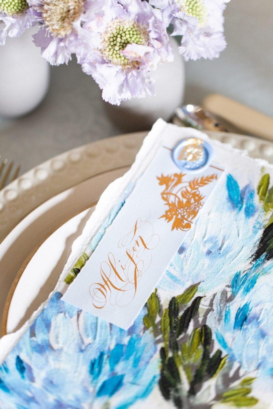 Blue & Gold fine art hand painted hydrangea menu design with a place card design
