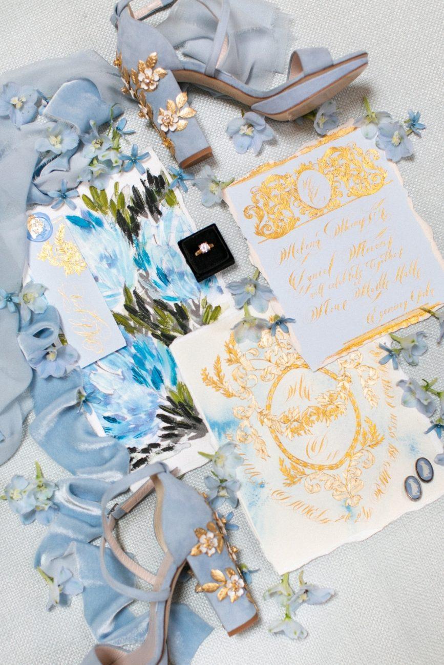 Blue & Gold luxury wedding stationery