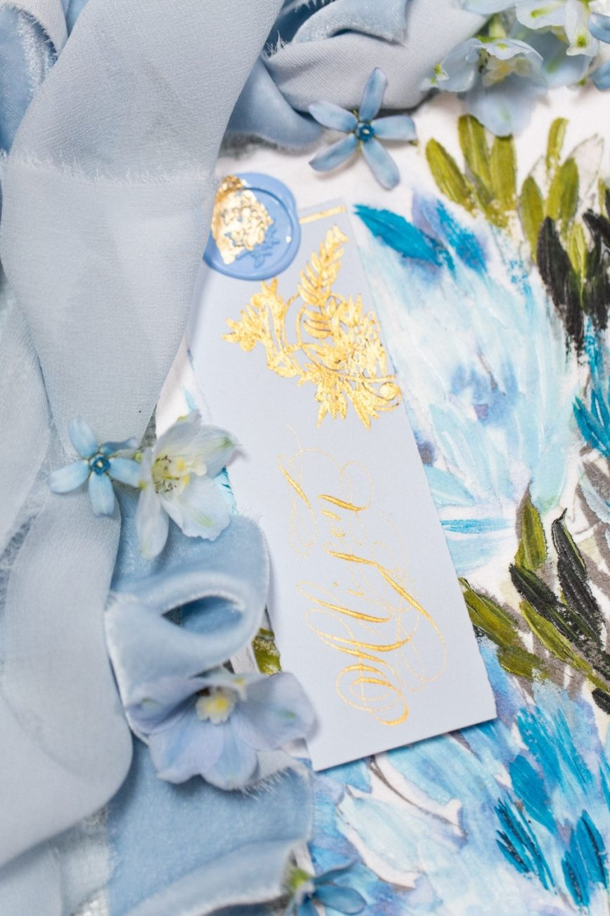 Blue & Gold wedding invitation suit with a hand painted menu design and powder blue place name card