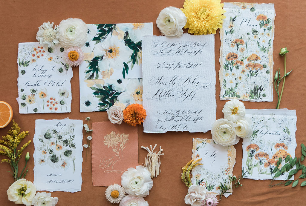 Wildflower watercolour wedding invitation suite that I designed before my mindset shift