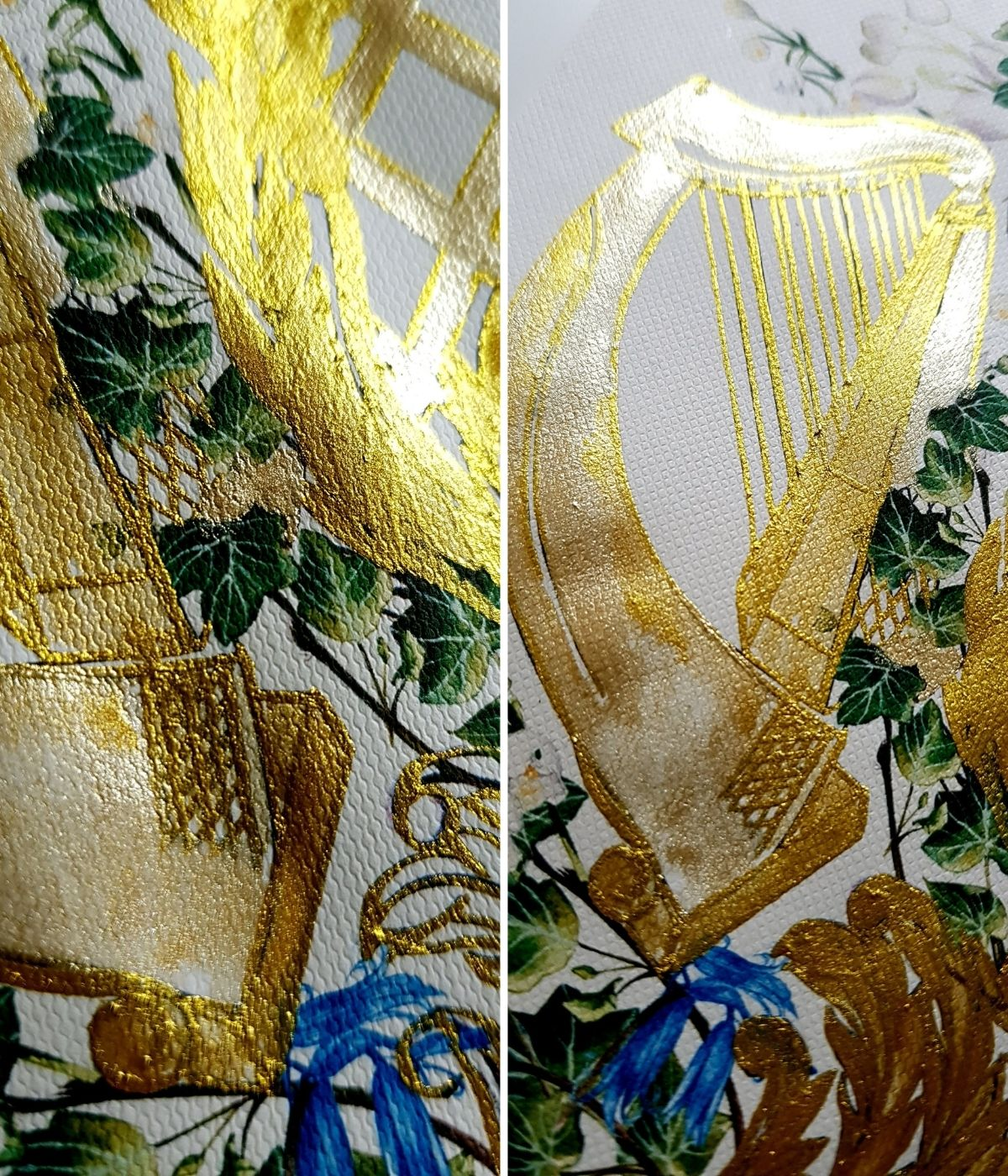 Golden harp design, hand made with gold calligraphy dip pen for a beautiful, striking yet elegant Ireland wedding invitations suite for a luxury elopement in the country