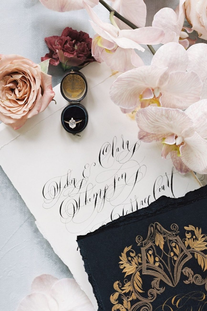 High end fashion wedding stationery with fine art calligraphy design and ornate, classical and elegant yet dark and moody themed invitations for a Capri wedding