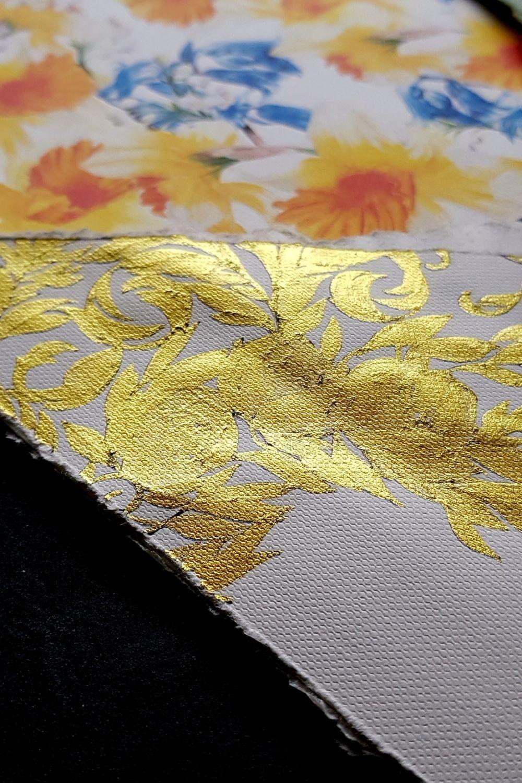Ireland wedding invitations featuring custom designed baroque style crest design and watercolour flowers