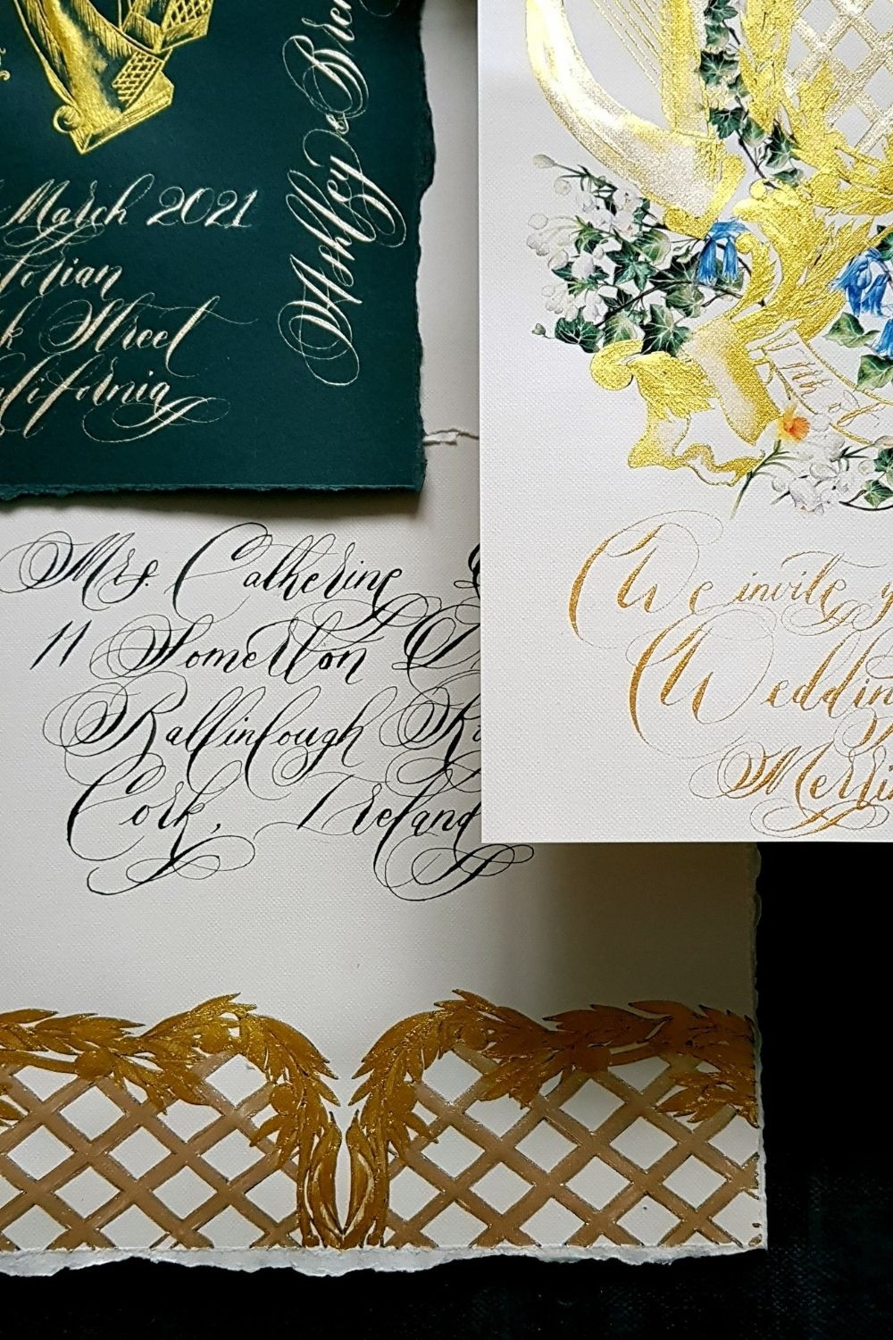 Ireland wedding invitations featuring custom designed diamond pattern and ornate gold and dark green hues