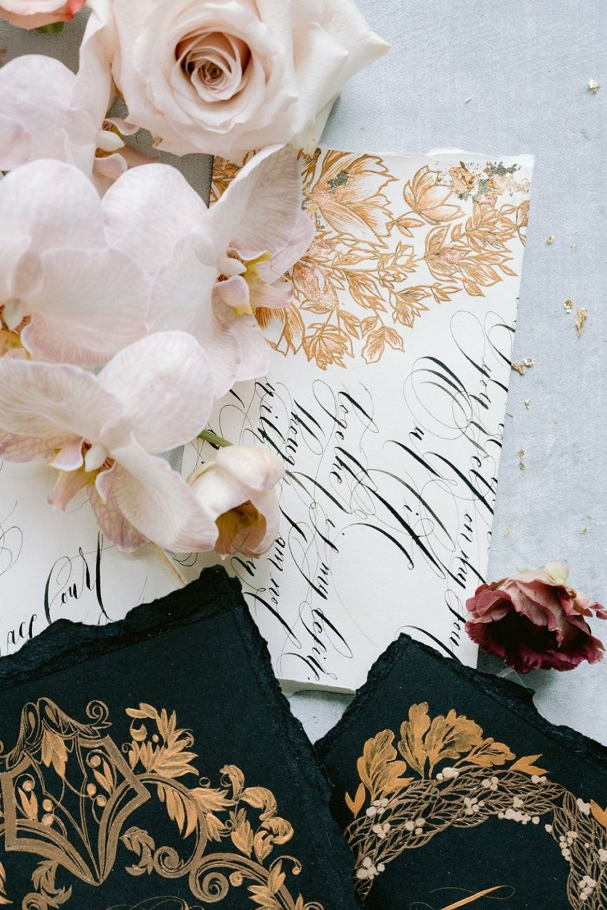 Luxury, high end wedding stationery for a high fashion, Vogue wedding with refined gold floral designs and classical gold crest design for a wedding in Capri