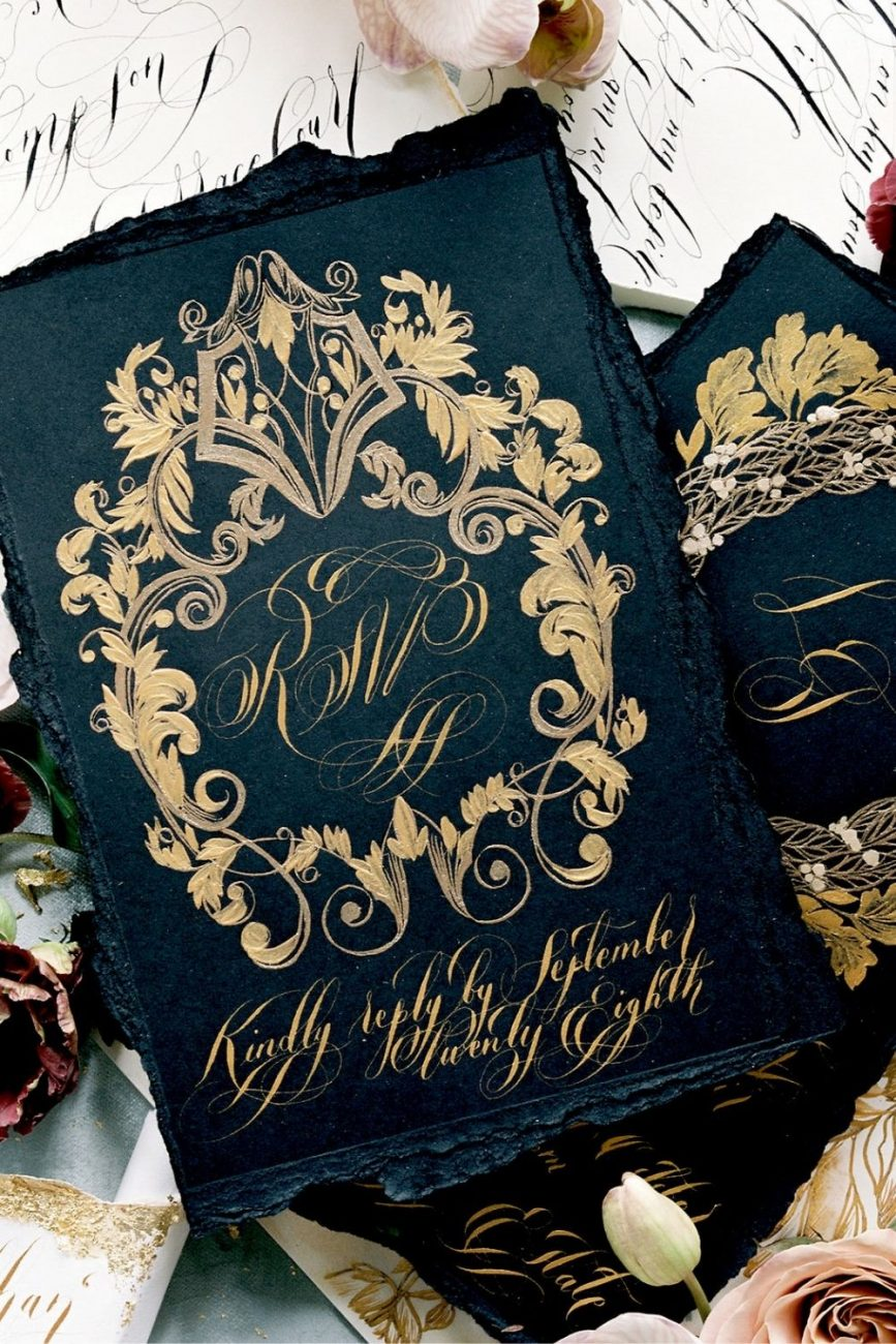 Luxury high fashion black and gold capri wedding invitations for a luxury celebration