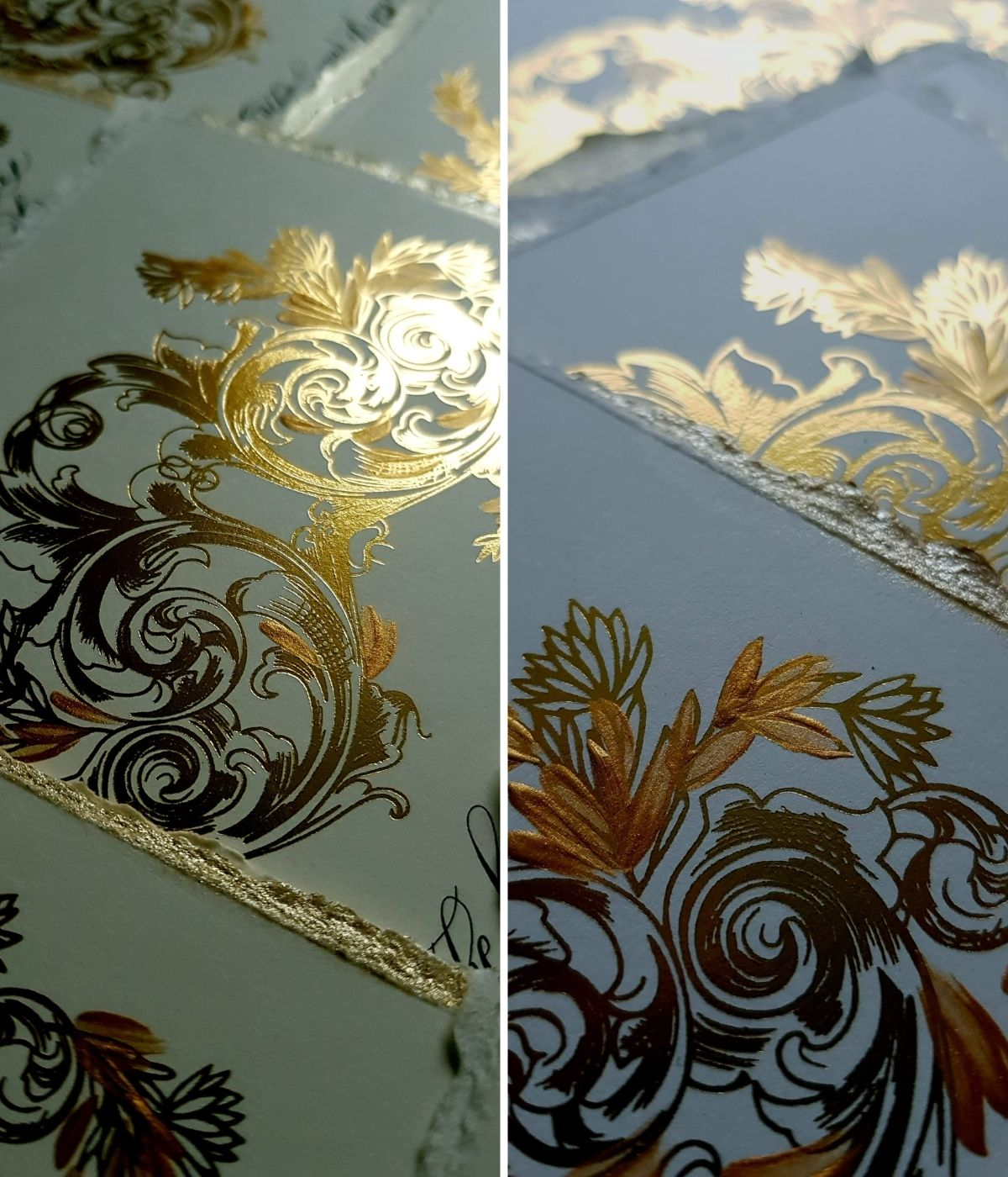 Bold and ornate, baroque, renaissance style crest design for a French inspired wedding stationery suite