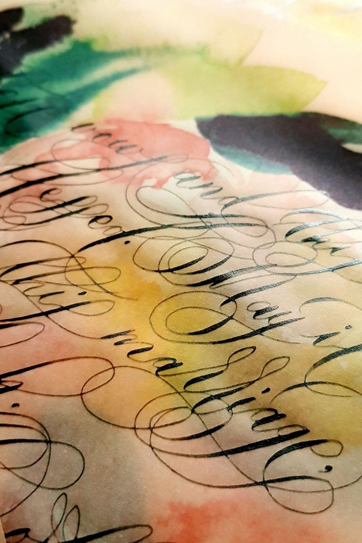 Invitation wraps with beige-caramel vellum and watercolour design