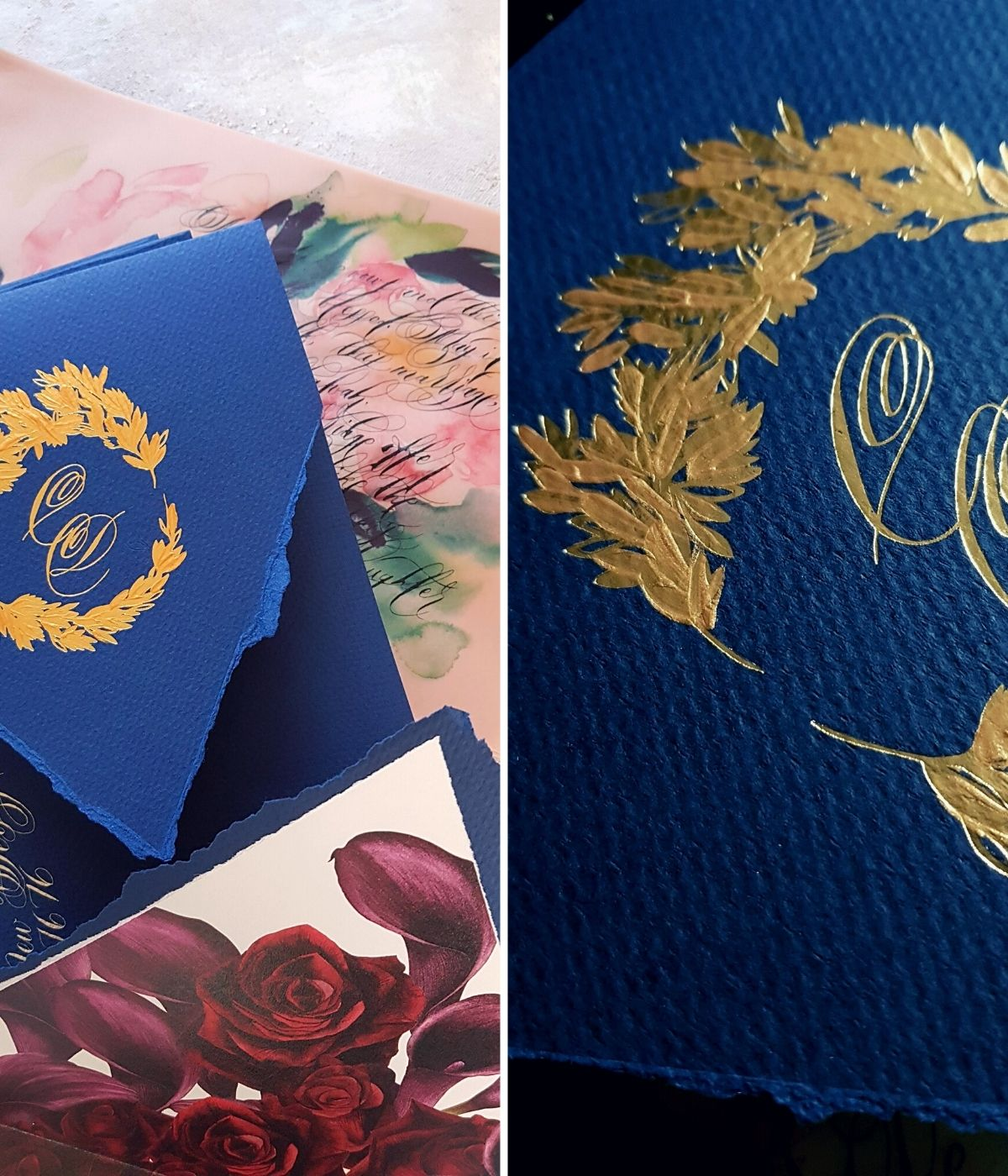 Navy blue and gold custom envelope with hand painted gold crest design