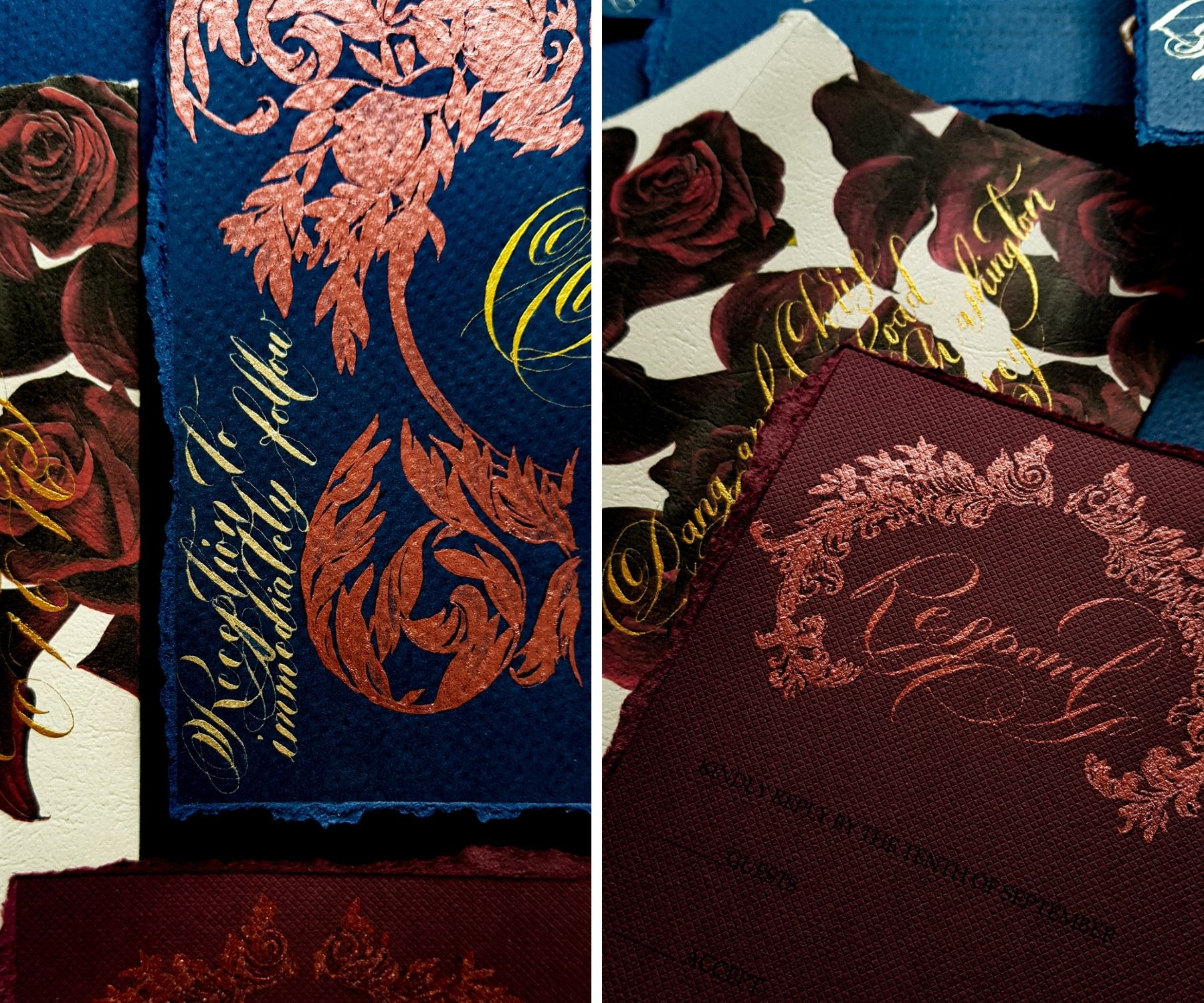 Blue and magenta with deep red floral design for a custom stationery suite