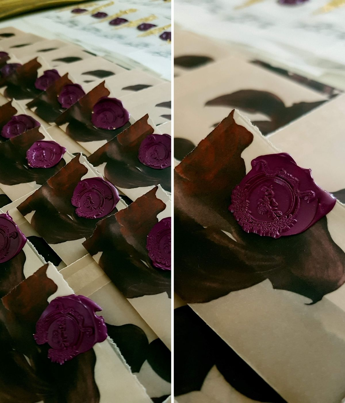 Wax sealed, custom made vellum envelopes with deep red and burgundy floral illustrations